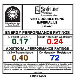 Soft-Lite's NFRC Performance Rating Label